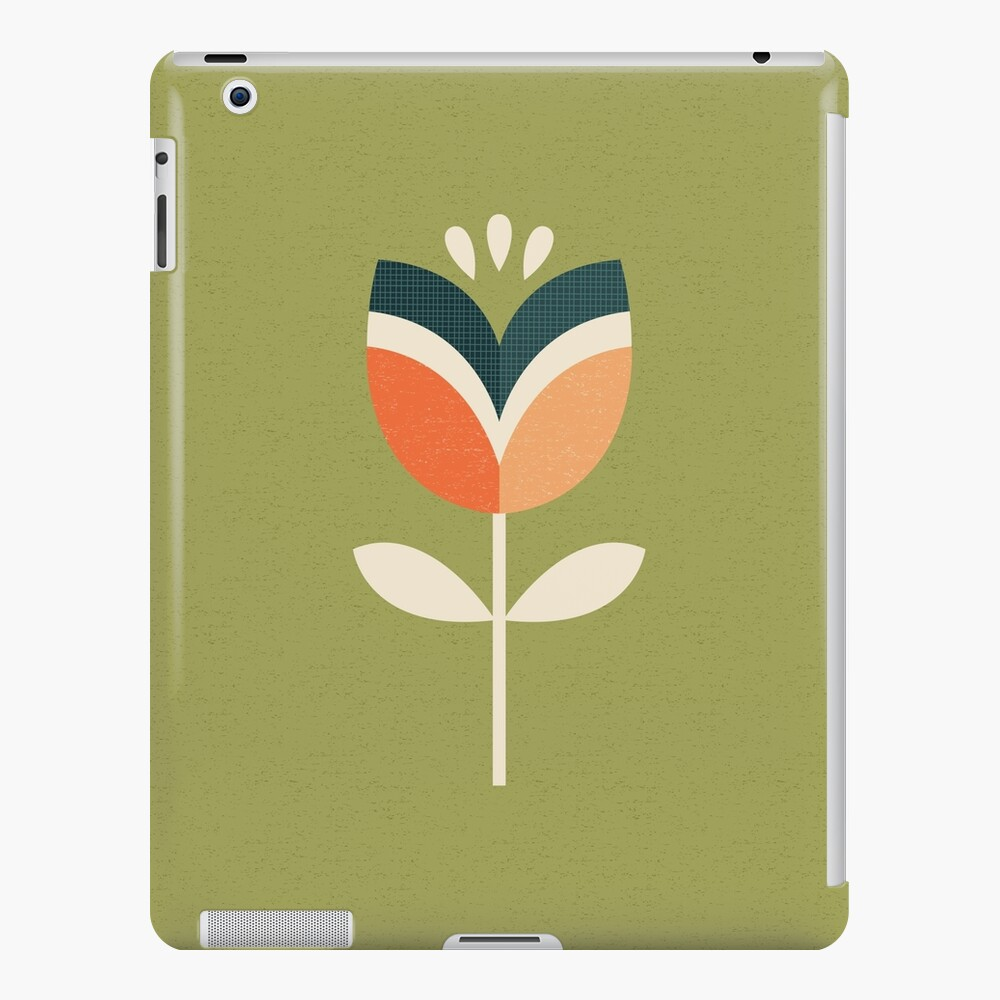 Retro Tulip - Orange and Olive Green iPad Case & Skin