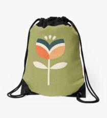 Retro Tulip - Orange and Olive Green Drawstring Bag
