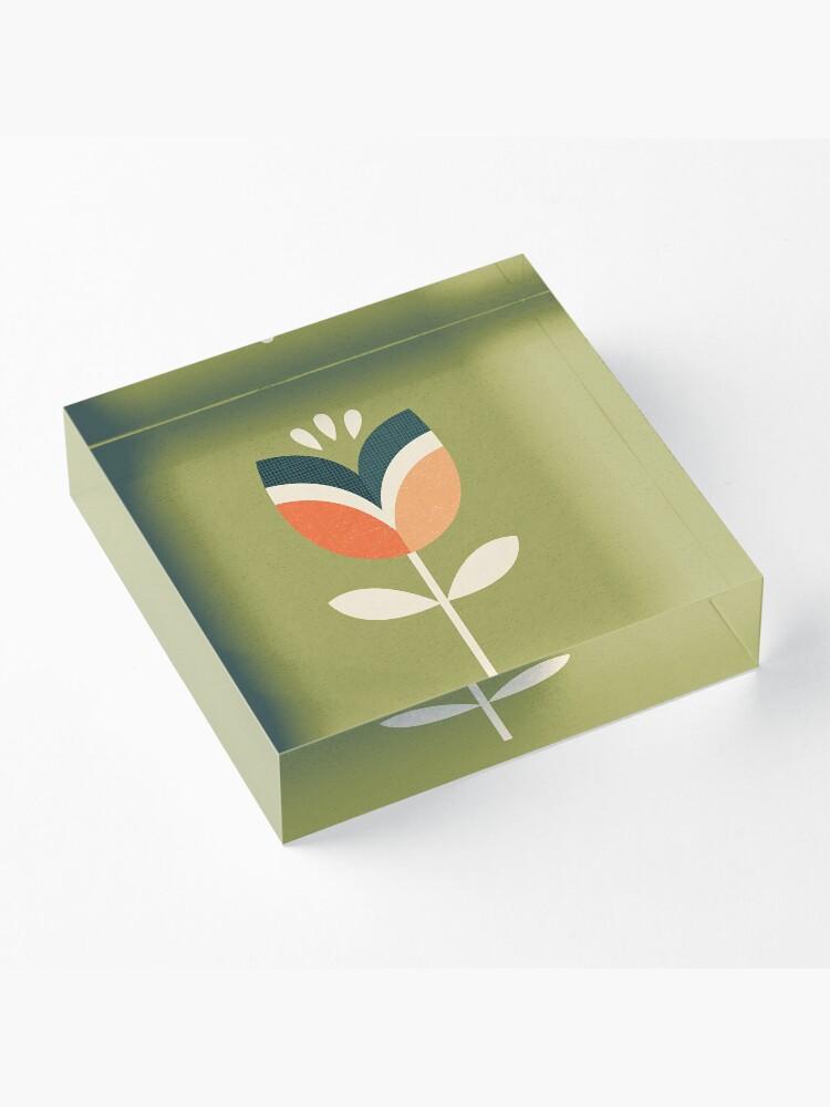 Alternative Ansicht von Retro Tulpe - Orange und Olivgrün Acrylblock