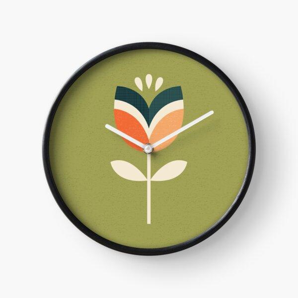 Retro Tulip - Orange and Olive Green Clock