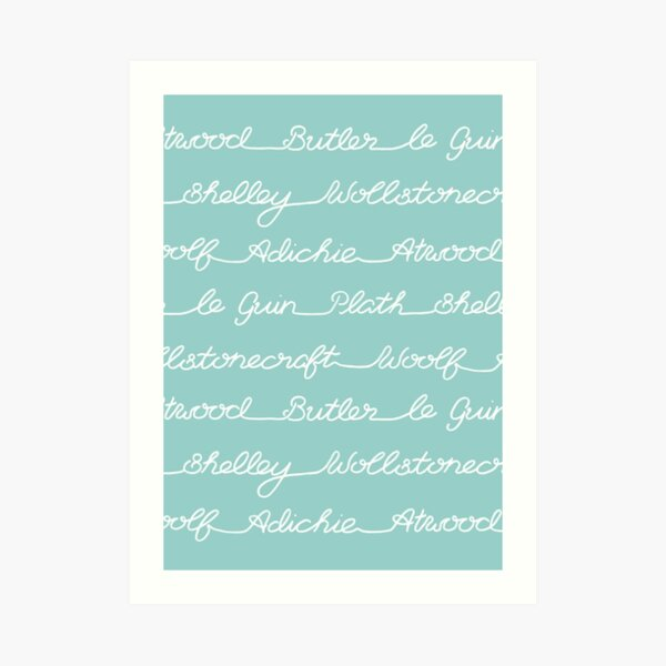 Feminist Book Author Surname Hand Written Calligraphy Lettering Pattern - Blue Art Print