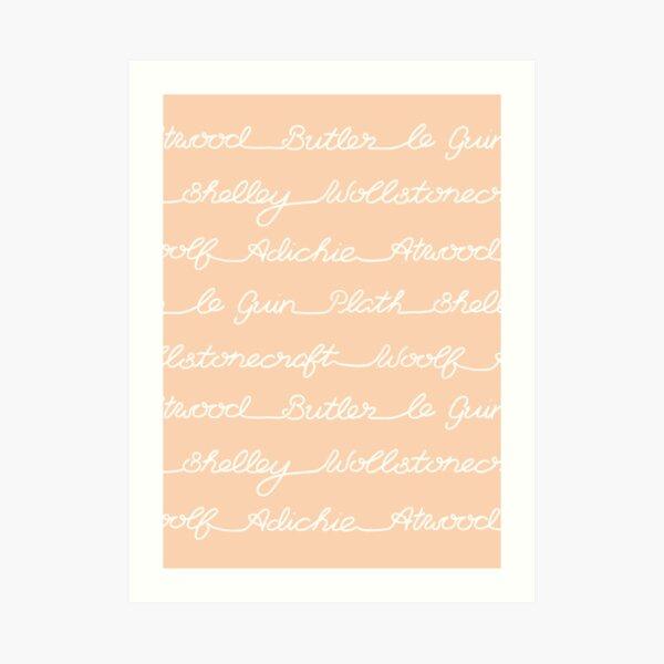 Feminist Book Author Surname Hand Written Calligraphy Lettering Pattern - Orange Art Print