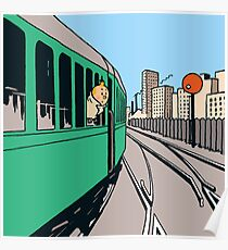 Tintin on Train  Poster