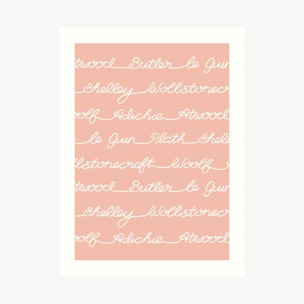 Feminist Book Author Surname Hand Written Calligraphy Lettering Pattern - Pink Art Print