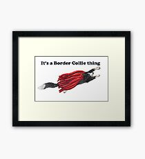 Border Collie dog, hero in a red cape Framed Print