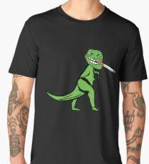 Funny Smoking Cigarette Dinosaur T-Rex Memes Men's Premium T-Shirt