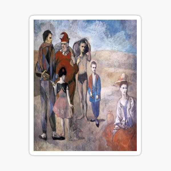 Family of acrobats (Jugglers)-Pablo Picasso Sticker