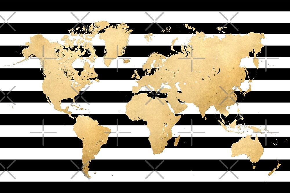 Gold World Map In Black And White Striped Background By Blursbyai Redbubble