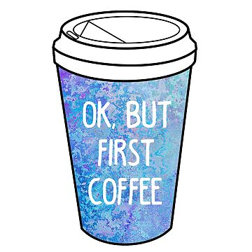"""Ok, but first coffee"" colorful travel mug by MayaTauber"