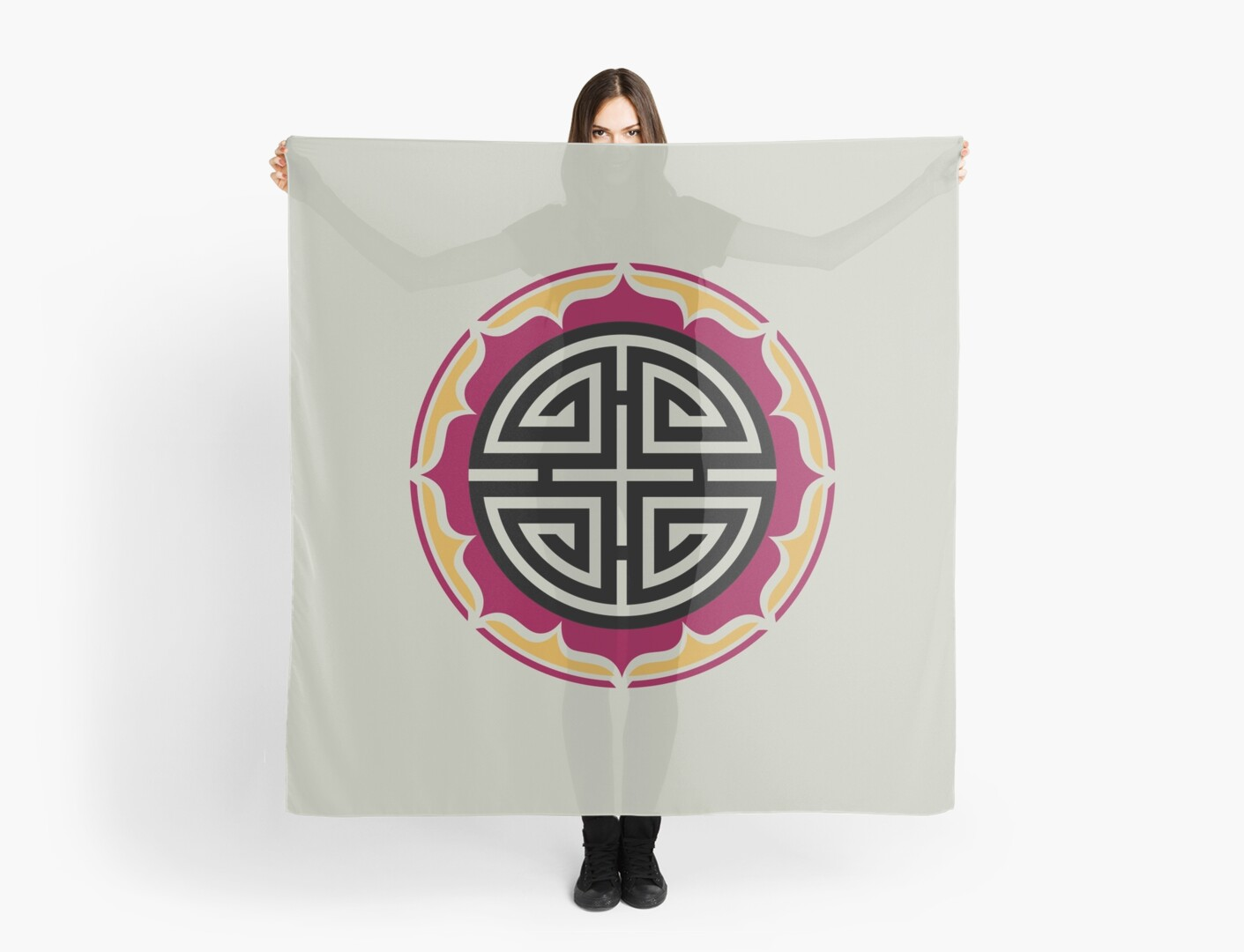 Four blessings chinese good luck symbol lotus flower scarves by four blessings chinese good luck symbol lotus flower by nitty gritty buycottarizona Images
