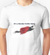 Border Collie dog, hero in a red cape Unisex T-Shirt