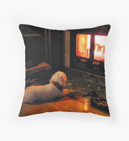 Fire Place Throw Pillow