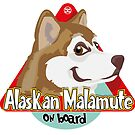 Alaskan Malamute On Board - Red by DoggyGraphics