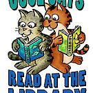 Cool Cats Read at the Library by manyhats