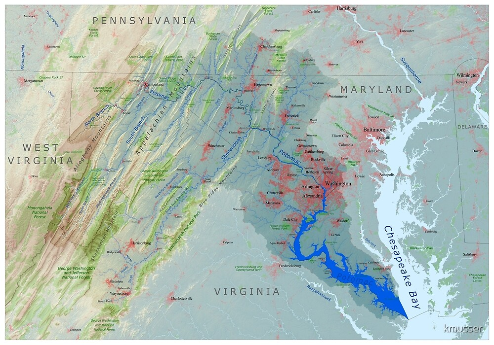 Potomac River Watershed Map - Labeled by kmusser