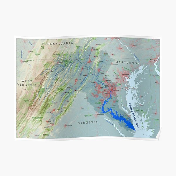 Potomac River Watershed Map - Labeled Poster