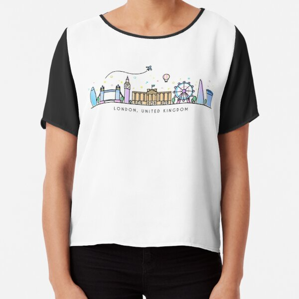 London Skyline. United Kingdom, Great Britain Chiffon Top