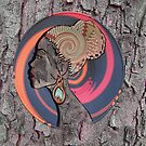 African Craft of Woman Profile on Bark by NadineMay