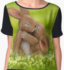 Cute Brown Easter Bunnies Hugging Chiffon Top