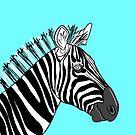 Turquoise Zebra Portrait by Adam Regester