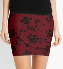 Floral Red Mini Skirt