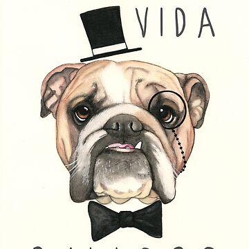 Livin 'La Vida Bulldog - Bulldog Inglés de PaperTigressArt