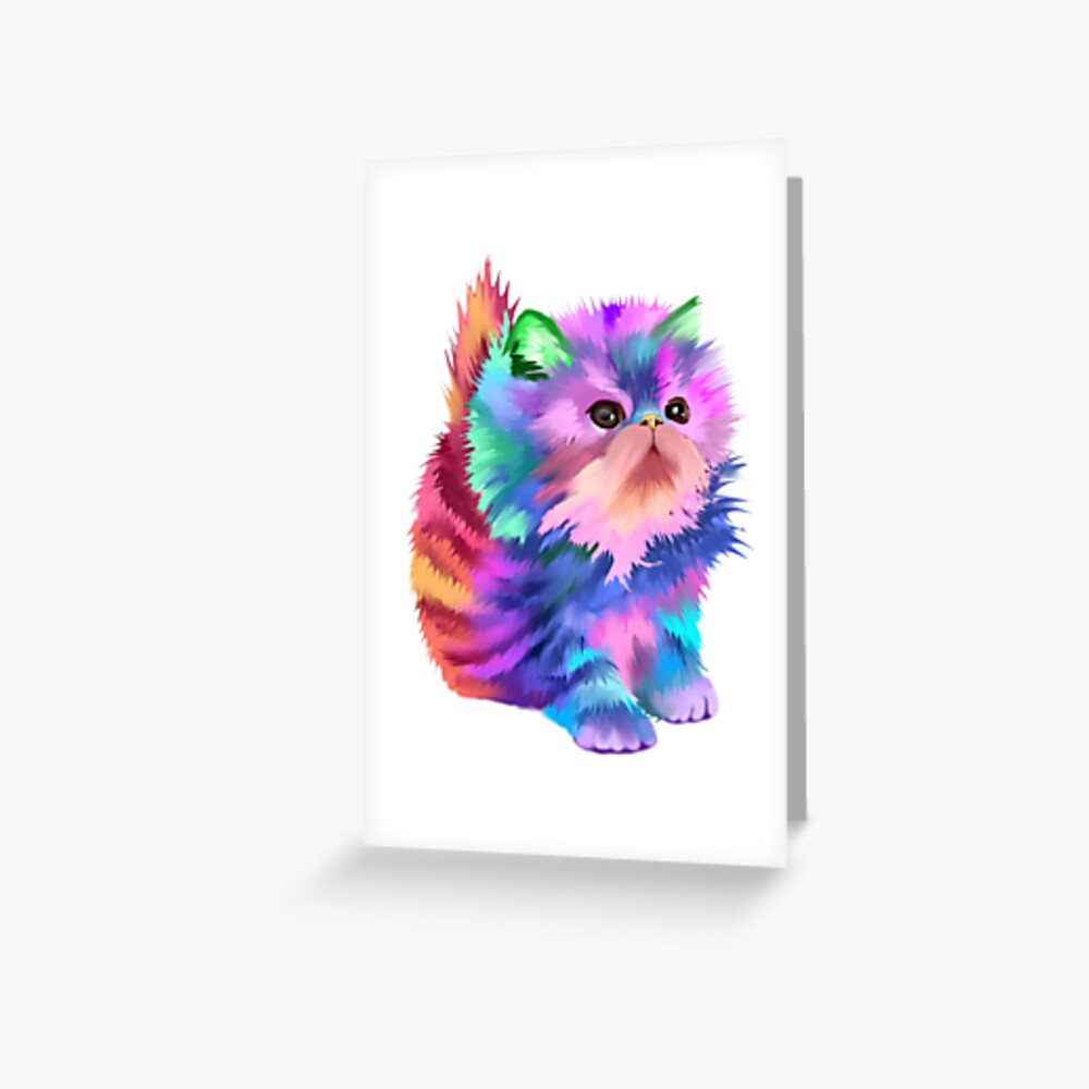 Colorful Rainbow Cute Psychedelic Beautiful Funny Kitten Cat Fantasy Art Art Print By Starchild777 Redbubble