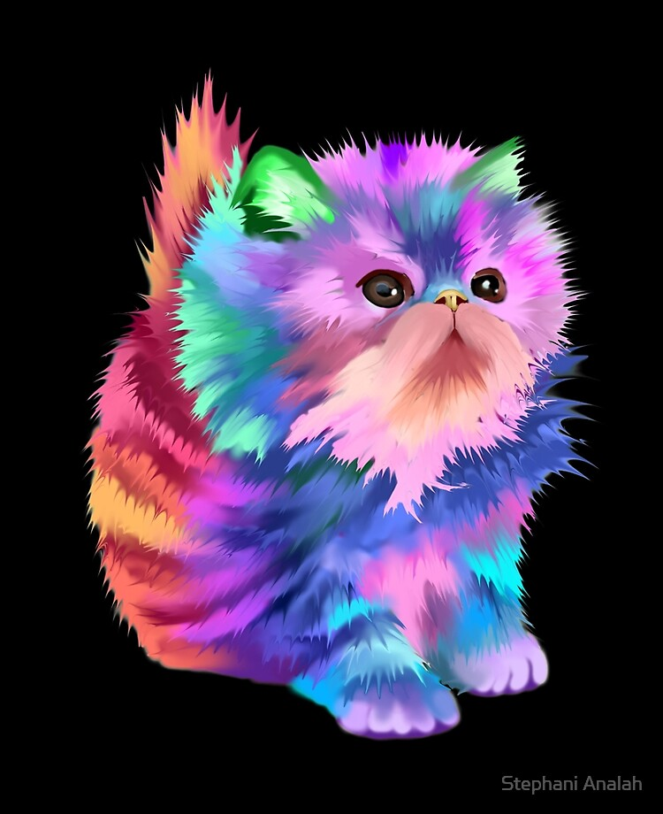 Colorful Rainbow Cute Psychedelic Beautiful Funny Kitten Cat Fantasy Art Ipad Case Skin By Starchild777 Redbubble