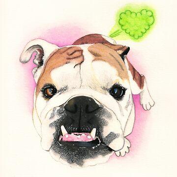 Bulldog inglés @LucyFarted de PaperTigressArt