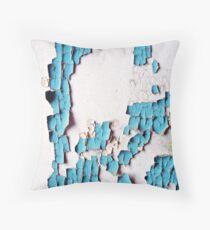 Breakdown of a Forgotten Blue Wall Throw Pillow