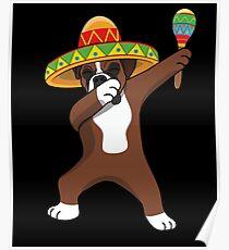 Póster Dabbing Boxer Dog en Sombrero Cinco De Mayo Fiesta Mexicana Dab Dance Fiesta Mexicana Tequila Margarita Sangrita
