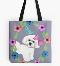 Bichon Frise and Butterflies Tote Bag
