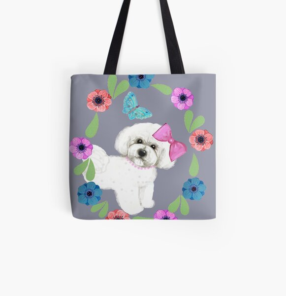 Bichon Frise and Butterflies All Over Print Tote Bag