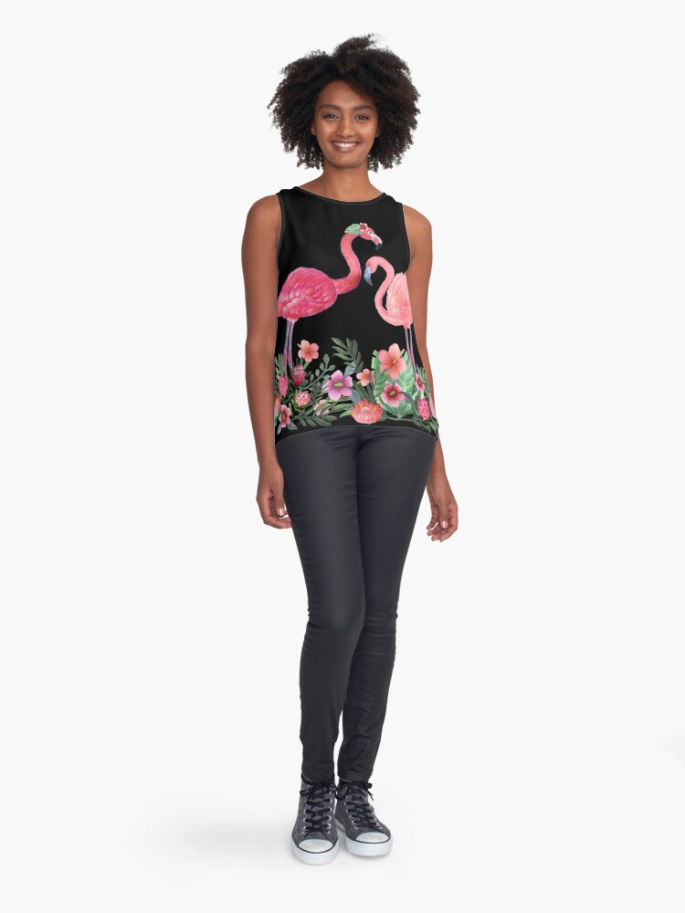 Alternate view of Flamingo with Tropical Flowers by Magenta Rose Designs Sleeveless Top