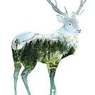 « Watercolor Landscape Deer » par Threeleaves