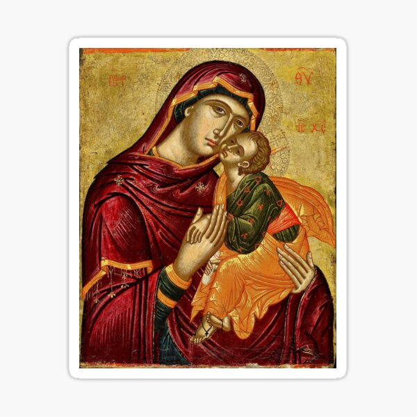 Loving Tenderness Mary and Baby Jesus  Sticker