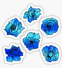 Flaming Roses Blue Pattern Sticker