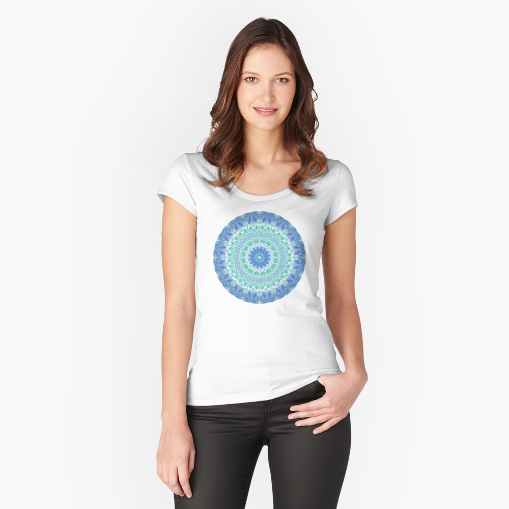 Blue and Turquoise Mandala Fitted Scoop T-Shirt