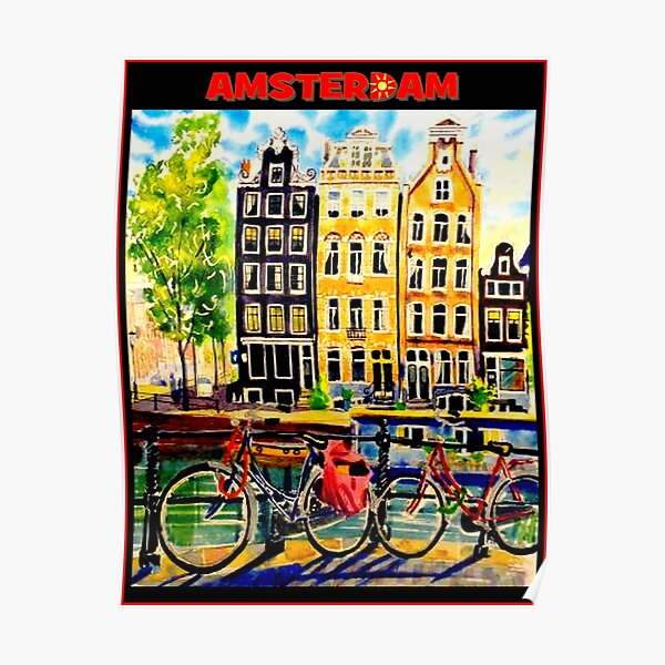 AMSTERDAM : Vintage Bicycle Travel Print Poster