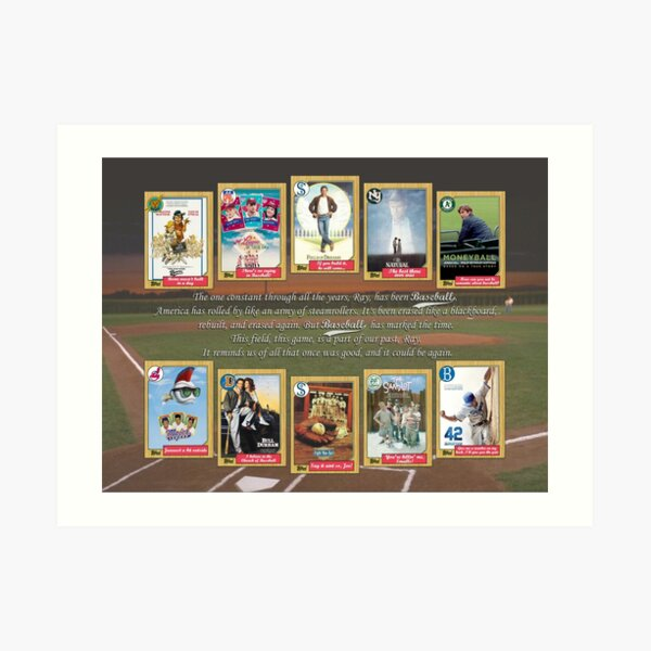 Greatest Baseball Movies with Field of Dreams Quote Art Print