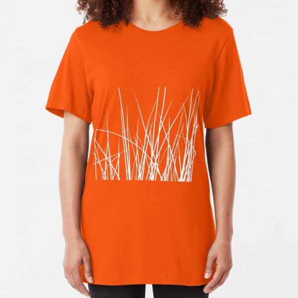 Water grass (white) (T-Shirt) Slim Fit T-Shirt