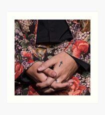 Harry Styles flower pink tattoos Art Print