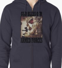 God bless our armed forces - UK Zipped Hoodie
