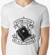 Brennen Sie Ihre schwarzen Bücher T-Shirt mit V-Ausschnitt für Männer