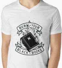 Camiseta para hombre de cuello en v Burn Your Black Books