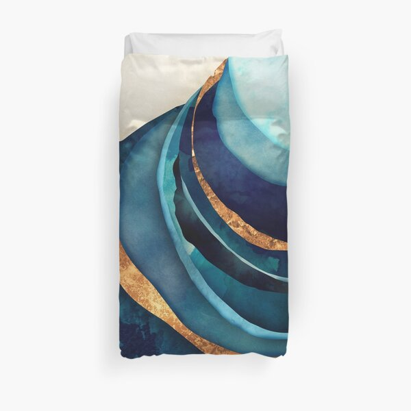 Abstract Blue with Gold Duvet Cover
