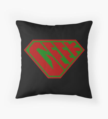 Geek SuperEmpowered (Red and Green) Throw Pillow