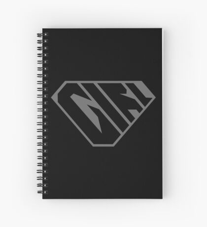 Girl SuperEmpowered (Black on Black) Spiral Notebook
