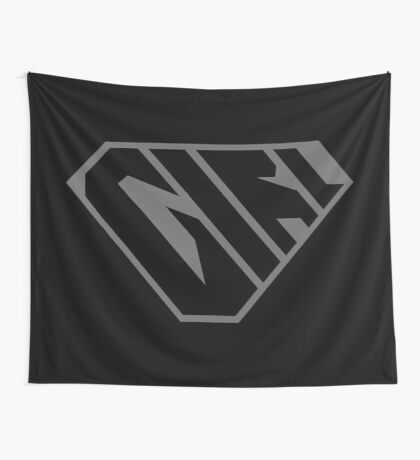 Girl SuperEmpowered (Black on Black) Wall Tapestry
