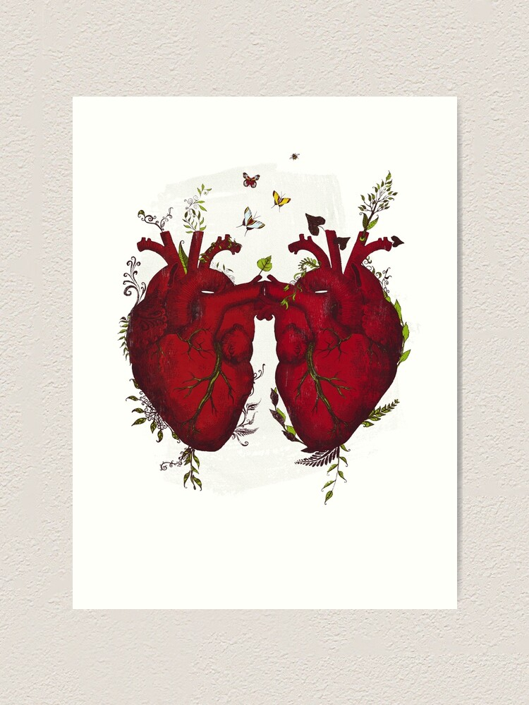 Alternate view of two hearts beating as one Art Print